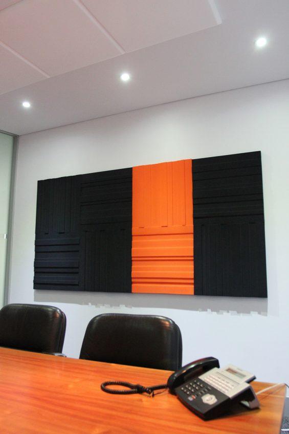 Lundor Acoustic Panel: 6 Charcoal Grey 2 Orange