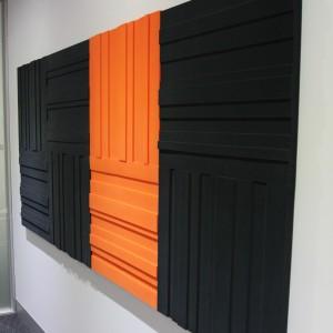 Lundor acoustic panel: 6 Charcoal Grey Grey 2 Orange