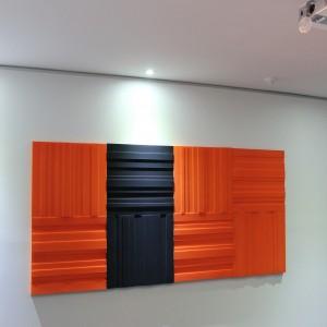 Lundor acoustic panel: 6 Orange 2 Charcoal Grey